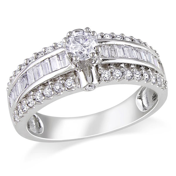 Miadora Signature Collection 14k White Gold 1ct TDW Baguette Cut Diamond Ring