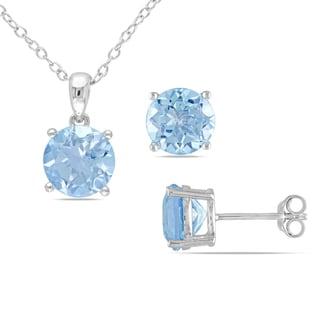 Miadora Sterling Silver Sky Blue Topaz Jewelry Set