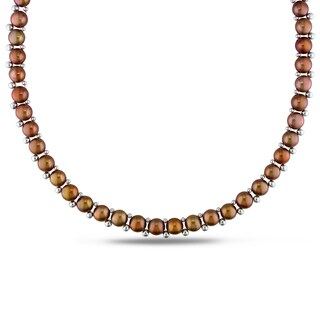 Miadora Sterling Silver Bead and Brown Cultured Freshwater Pearl Necklace (6-7 mm)