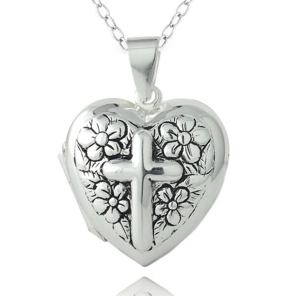 Mondevio Sterling Silver Heart Locket Necklace