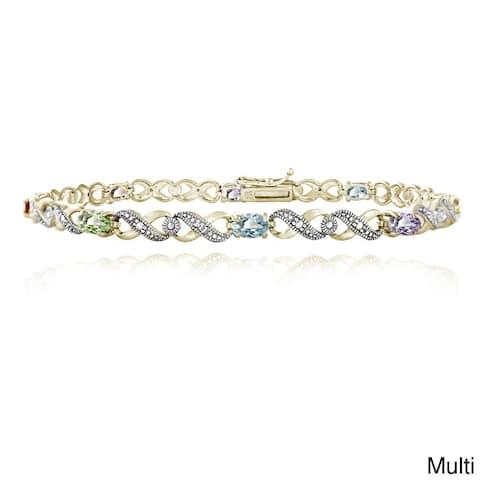 Glitzy Rocks 18k Gold over Silver Ruby and Diamond Infinity Bracelet