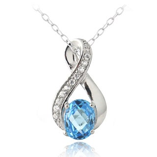 Glitzy Rocks Sterling Silver Swiss Blue Topaz and Cubic Zirconia Infinity Necklace