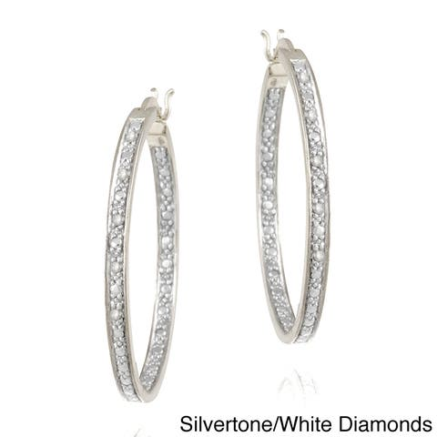 DB Designs Rhodium-plated 1/10ct TDW Diamond Hoop Earrings