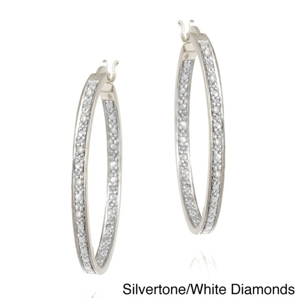 DB Designs Rhodium-plated 1/10ct TDW Diamond Hoop Earrings