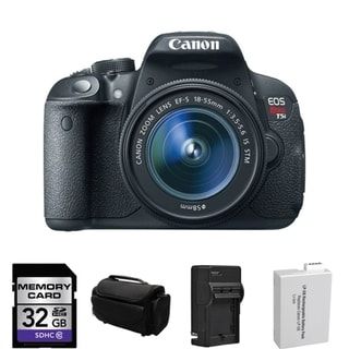 Canon EOS Rebel T5i DSLR Camera EF-S 18-55mm IS STM Lens 32GB Bundle