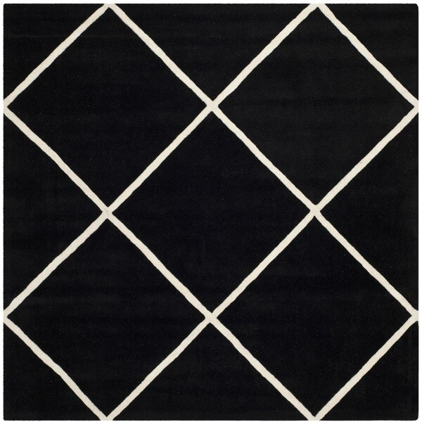 Shop Safavieh Handmade Moroccan Black Diamond Pattern Wool Rug 7