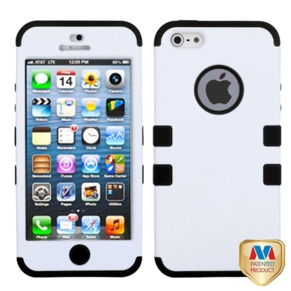 INSTEN White/ Black TUFF Hybrid Phone Case Cover for Apple iPhone 5