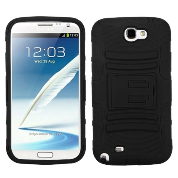 INSTEN Black Armor Phone Case Cover for Samsung Galaxy Note 2/ II T889/ I605