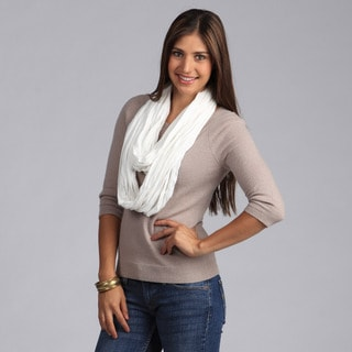 Peach Couture Soft Solid White Infinity Loop Scarf
