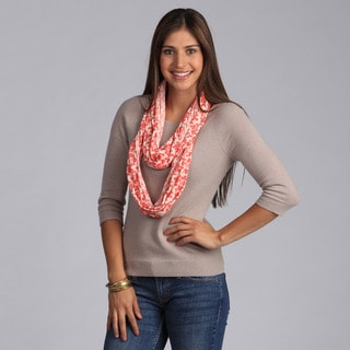 Peach Couture Chic Coral Leaves Infinity Loop Scarf