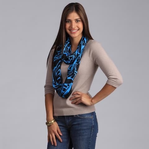Peach Couture Turquoise and Black Floral Print Infinity Loop Scarf - Turquoise/Black