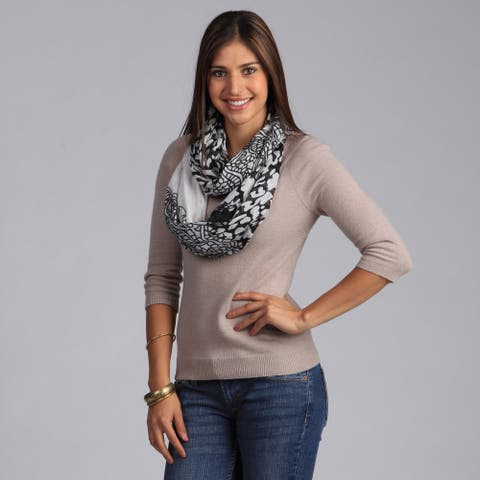 Peach Couture Ivory and Black Floral Printed Infinity Loop Scarf