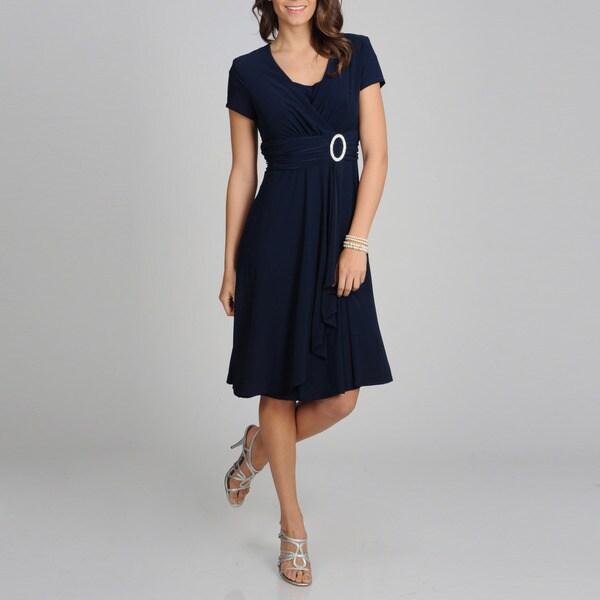 R & M Richards Women's Petite Rhinestone Applique Evening Dress