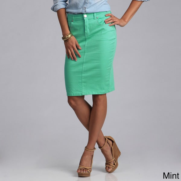 Tabeez Women's Colored Denim 5-pocket Pencil Skirt