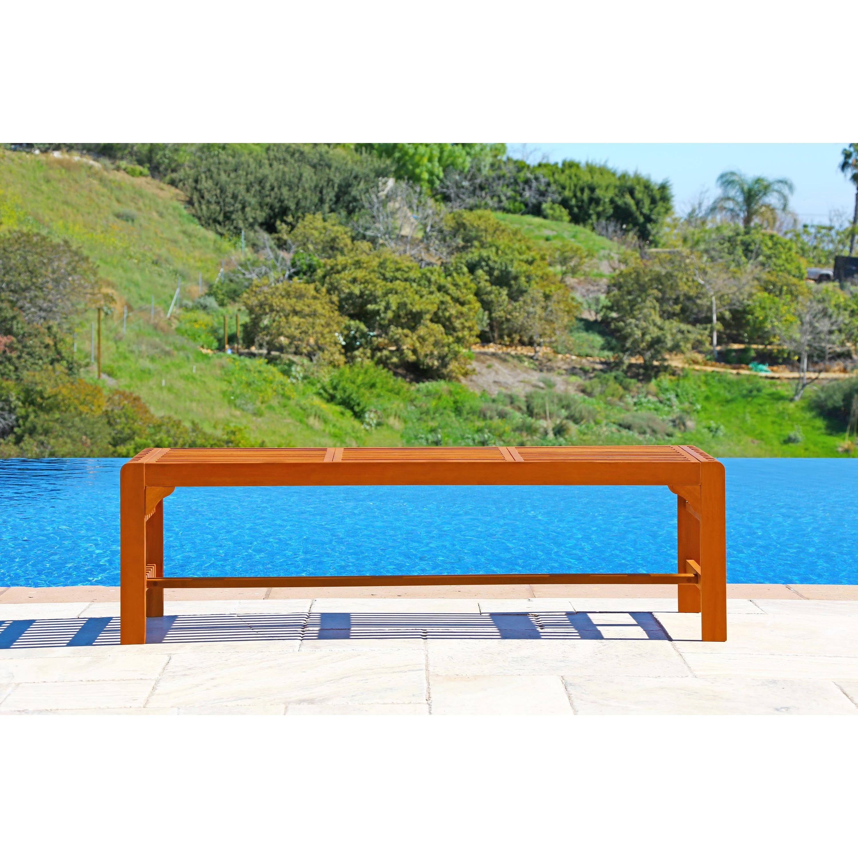 Malibu Eco Friendly Backless 5 Foot Outdoor Hardwood Garden Bench