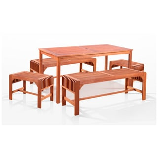 Eco-friendly Rectangular 5-piece Outdoor Dining Set with Table and 5-foot Backless Benches