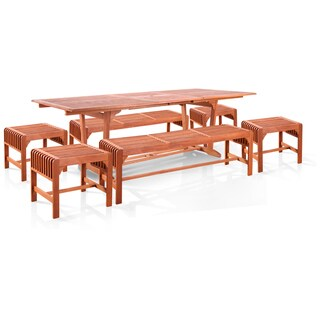 Eco-friendly 7-piece Dining Set with Extension Table and Backless Benches