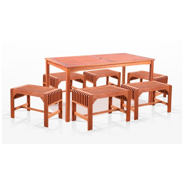 Eco-friendly 7-piece Dining Set with Rectangular Table and Backless Benches