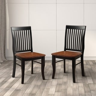 Furniture of America Nora Two-tone Solid Wood Slat-back Dining Chairs (Set of 2)