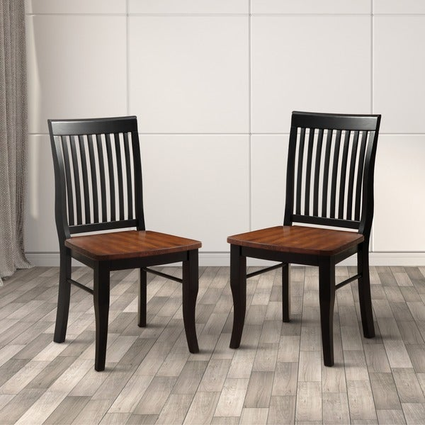 Furniture Of America Nora Two Tone Solid Wood Slat Back Dining Chairs (Set