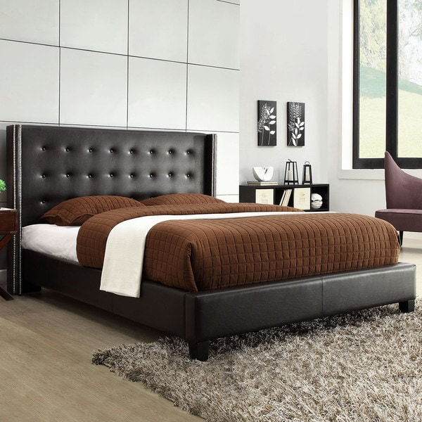 INSPIRE Q Marion Black Bonded Leather Nailhead Wingback King-sized Platform Bed