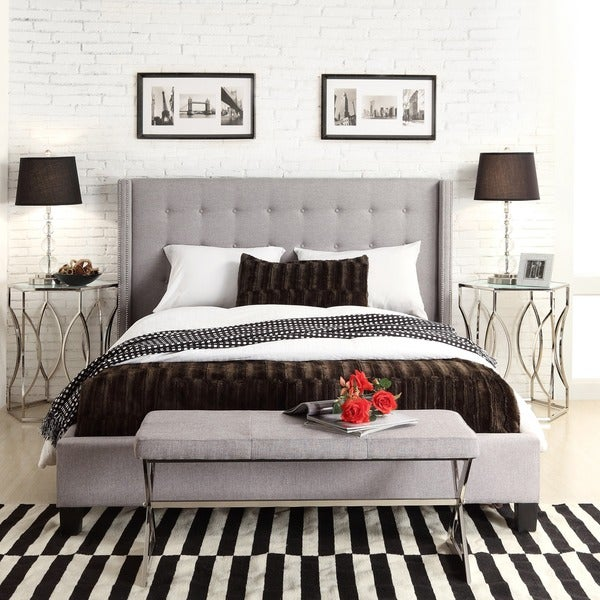 INSPIRE Q Marion Grey Linen Nailhead Wingback King-sized Platform Bed