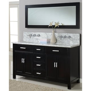 Direct Vanity 63-inch Hutton Spa Premiun Ebony Double Bathroom Vanity Sink Console