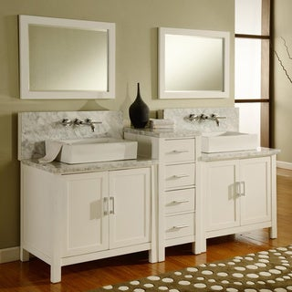 Direct. Vanity Sink 84-inch Horizon Pearl White/ Carrera Marble Double Bathroom Vanity Sink Console