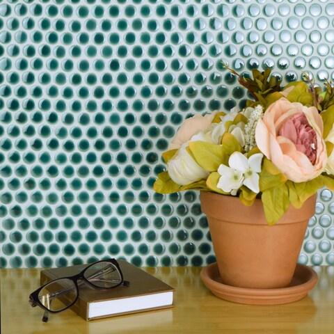 SomerTile Penny Emerald Porcelain Mosaic Floor and Wall Tile (10 tiles/10.2 sqft.)