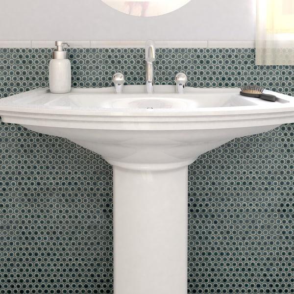 Somertile 12 x penny emerald porcelain mosaic for 10 inch floor tiles