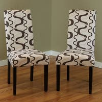 Villa Printed Fabric Contemporary Dining Chairs (Set of 2)