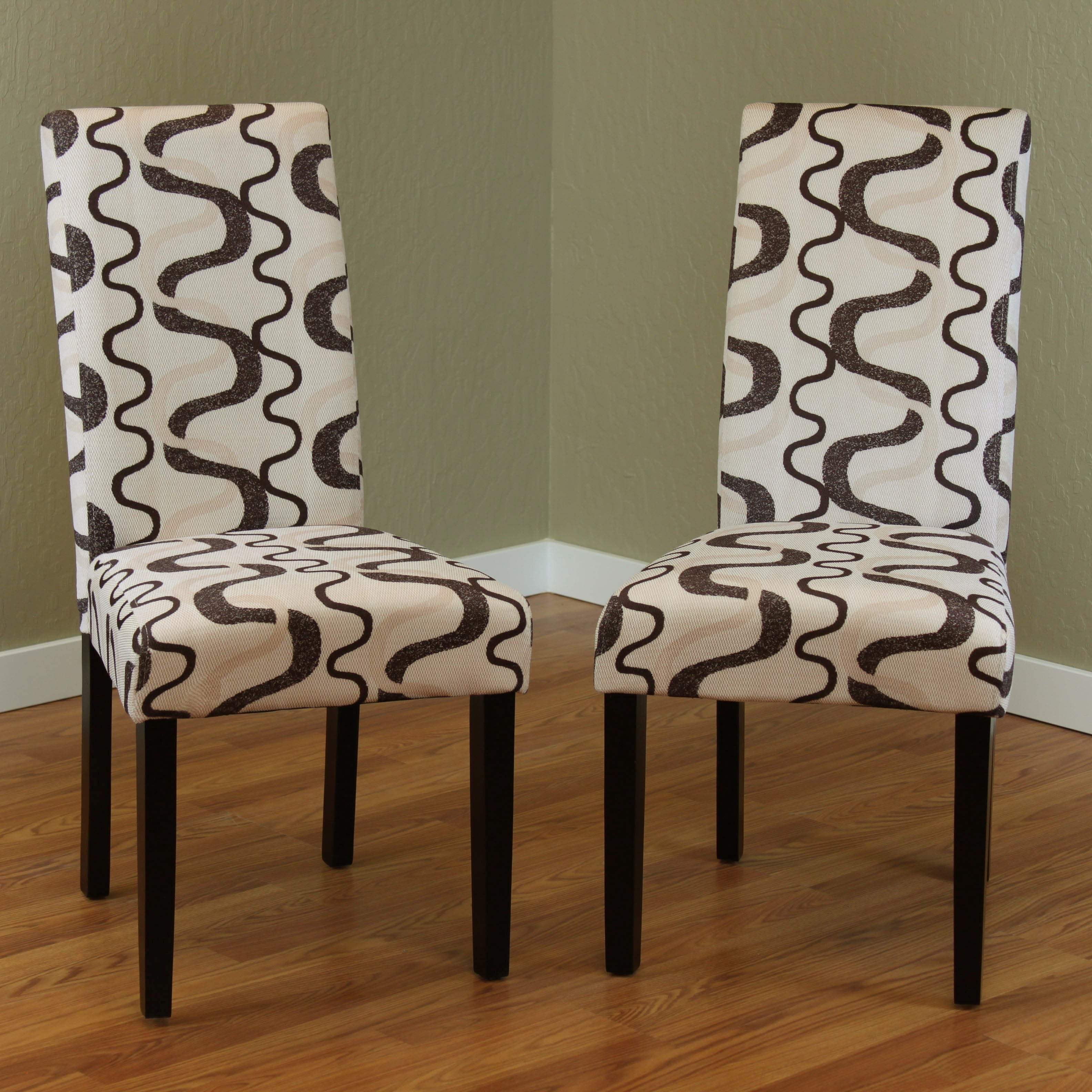 Villa Printed Fabric Contemporary Dining Chairs (Set Of 2) Black