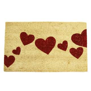 Rubber-Cal Red Hearts White/ Red Coir Doormat (1'6 x 2'6)