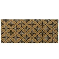 Rubber-Cal Classic Fleur de Lis French Brown Coir Door Mat (24 x 57)