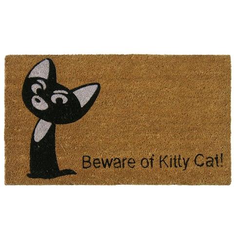 Rubber-Cal 'Beware of Kitty Cat' Coir Door Mat