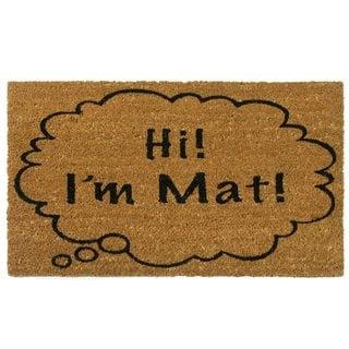 Rubber-Cal 'Hi I'm Mat' Coir Outdoor Door Mat