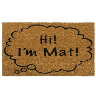 Rubber-Cal 'Hi I'm Mat' Coir Outdoor Door Mat|https://ak1.ostkcdn.com/images/products/7984193/7984193/Hi-Im-Mat-Coir-Outdoor-Door-Mat-P15352633.jpg?_ostk_perf_=percv&impolicy=medium