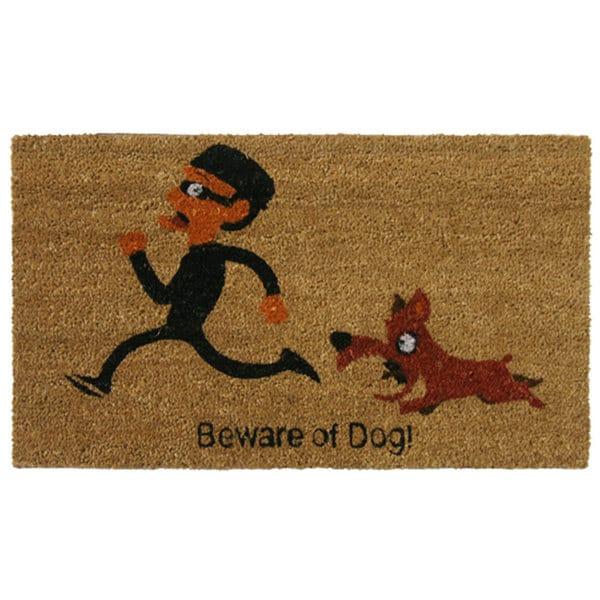 Rubber-Cal 'Beware of Dog' Coir Outdoor Door Mat
