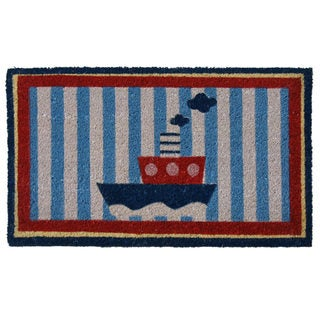 Rubber-Cal 'Welcome Aboard' Coir Nautical Door Mat
