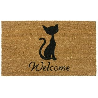 Rubber-Cal Meow Cat Coir Welcome Mat