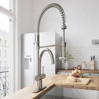 VIGO Dresden Stainless Steel Pull-Down Kitchen Faucet with Deck Plate