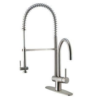 VIGO Dresden Stainless Steel Pull-Down Spray Kitchen Faucet with Deck Plate