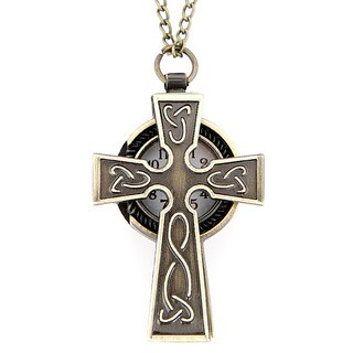 Goldtone Celtic-themed Cross Watch Necklace