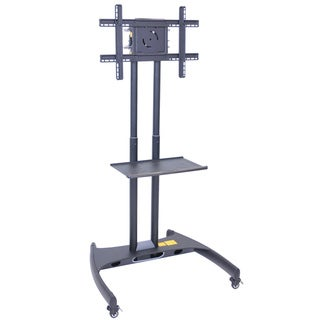 Luxor Height Adjustable Rolling LCD/ LED Flat Panel Cart with Accessory Shelf