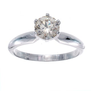 Victoria Kay 14k White Gold 7/8ct TDW Diamond Solitaire Engagement Ring