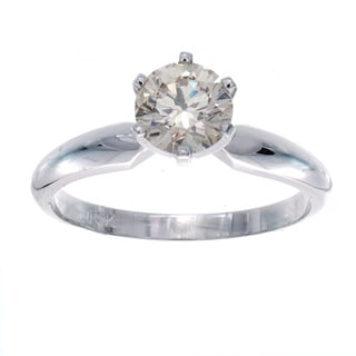 Victoria Kay 14k White Gold 7/8ct TDW Diamond Solitaire Engagement Ring (K-L, SI1-SI2)