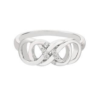 Sterling Silver Diamond Accent Double Infinity Ring