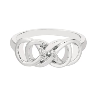 Sterling Silver Diamond Accent Double Infinity Design Ring