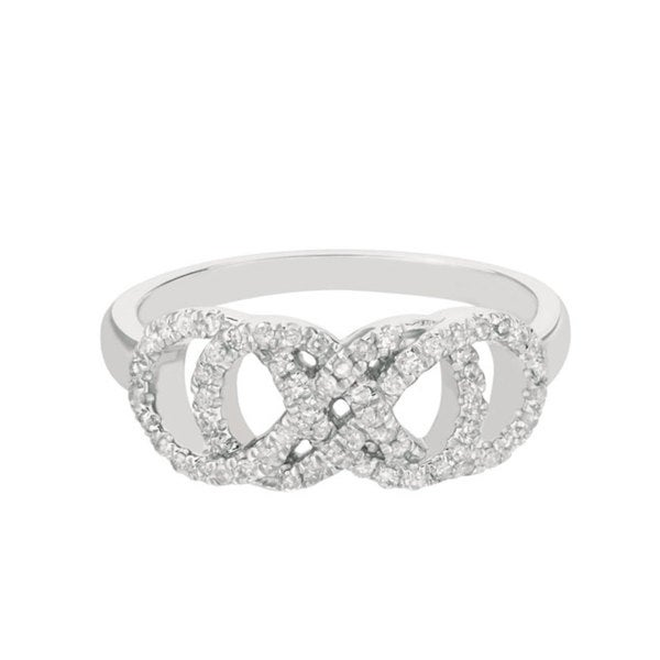 Sterling Silver 1/3ct TDW Diamond Double Infinity Ring