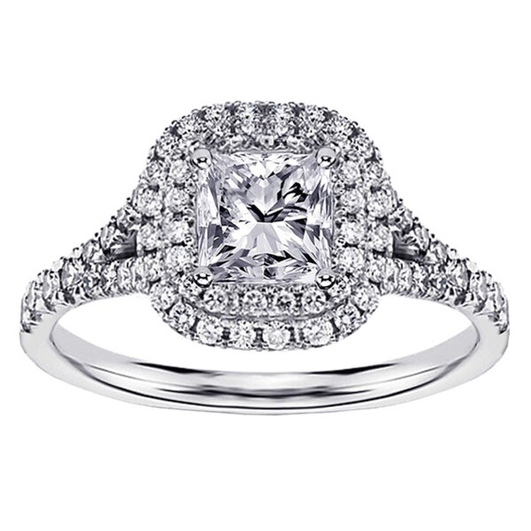 14k White Gold 1 1/2 Ct TW Micro Pave Set Princess Cut Designer Halo Engagement Ring